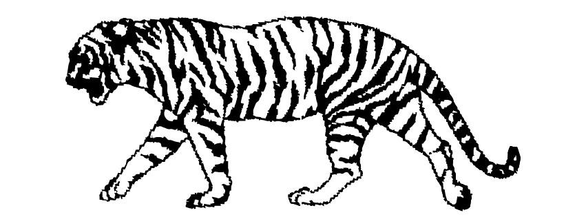 Tegning av en tiger som NTK brukte som logo fra 1983 og frem til 2007.